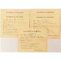 Civil War Union Statement of Volunteers (5)  (54918)