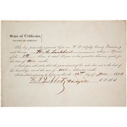 1853 Siskiyou County Liquor License Possibly for a Man Massacred by Indians  (60441)