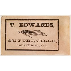 T. Edwards, Sutterville, CA Tradecard  (69041)
