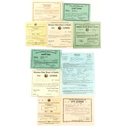 10 Vintage Montana Business Licenses  (47873)