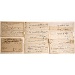 1880s Eureka, Nevada Check Archive Plus Extras  (60146)