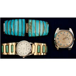 Two Turquoise Watchbands and One Watch  (71079)
