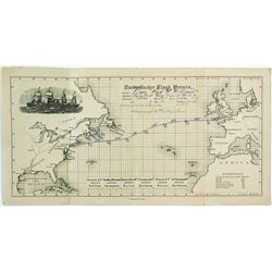 Steamer Trip Map from New York to England in 8 Days  (61302)