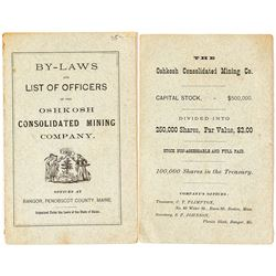 By-Laws & List of Officers of the Oshkosh Cons. Mining Company  (34819)