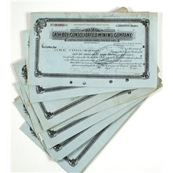 Cash Boy Consolidated Mining Company Stock Certs.  (63960)
