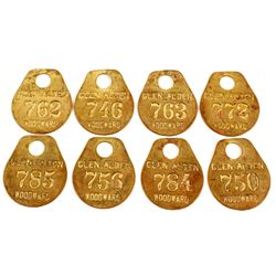 Glen Alden Coal Co. Brass Equipment Tags (8)  (64517)