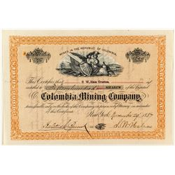 Columbia Mining Company Stock Certificate (Mines in Columbia) 1887  (35421)