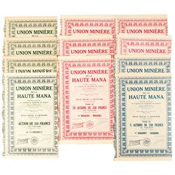 A Variety of Union Miniere de la Haute Mana Bond Certificates  (81075)