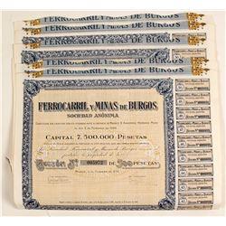 Ferrocarril y Minas de Burgos, Spain Bond Certificates  (81804)