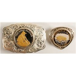 Sterling Silver Belt Buckle and Bolo Set - The Gold Panner and DOI Seal  (79531)