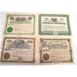Four DIfferent Cochise County Mining Stock Certificates  (66015)