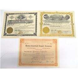 Three Courtland Mining District Stock Certificates   (66020)