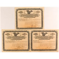 Three Rare Gold Cliff Mining & Reduction Co. Stock Certificates  (54350)
