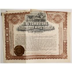 Tombstone Consolidated Mines Co. Stock signed by EB Gage  (62861)
