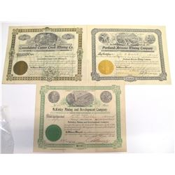 Three Different Copper Basin Mining Stock Certificates  (66006)