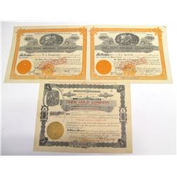 Three Tiger District Mining Stock Certificates   (66012)