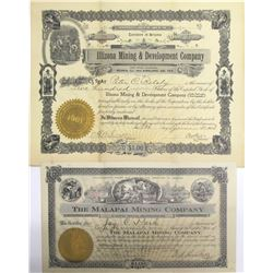 Two Different Kirkland District Mining Stock Certificates   (63897)