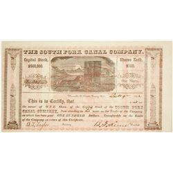 South Fork Canal Company Stock Certificate, California Gold Rush  (62755)