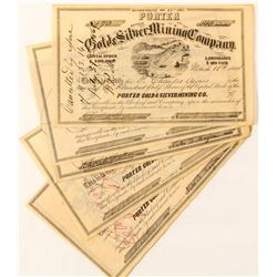 Porter Gold & Silver Mining Co. Stocks (8 count), 1864  (59505)