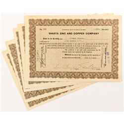Shasta Zinc and Copper Company Stock Certificates  (51760)