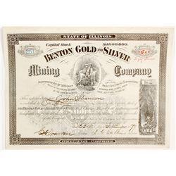 Benton Gold & Silver Mining Co. Stock Certificate  (62843)