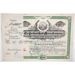 Portland Gold Mining Certificate  (64009)