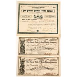 Colorado Mining Stock Certificates (3 count)  (58905)