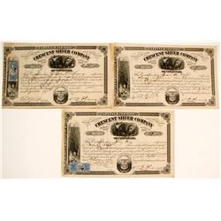 Crescent Silver Co. of Cincinnati Stock Cert. (3)  (58742)