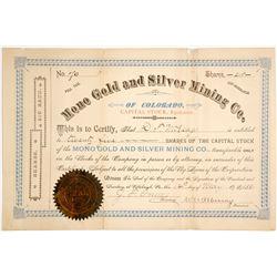 Mono Gold & Silver Mining Company Stock Certificate  (62829)