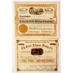Two Different Colorado Mining Stock Certificates   (67000)