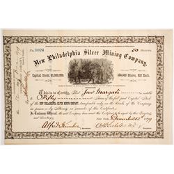 New Philadelphia Silver Mining Co. Stock Certificate, Belmont, NV, 1879  (62826)