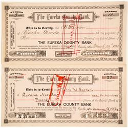 Eureka County Bank Stock Certificates  (74076)