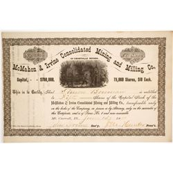 McMahon & Irvine Consolidated Mining & Milling Stock Certificate  (60230)