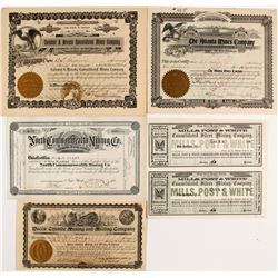 Five Different Nevada Mining Stock Certificates  (55629)