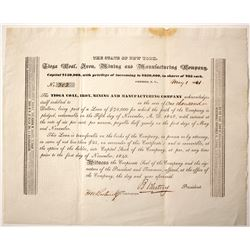 Tioga Coal, Iron, Mining & Manufacturing Loan Certificate, 1841  (54881)