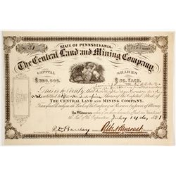 Central Land & Mining Company Stock Certificate   (62853)