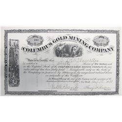 Columbus Gold Mining Co. of the Black Hills Stock Certificate   (60489)