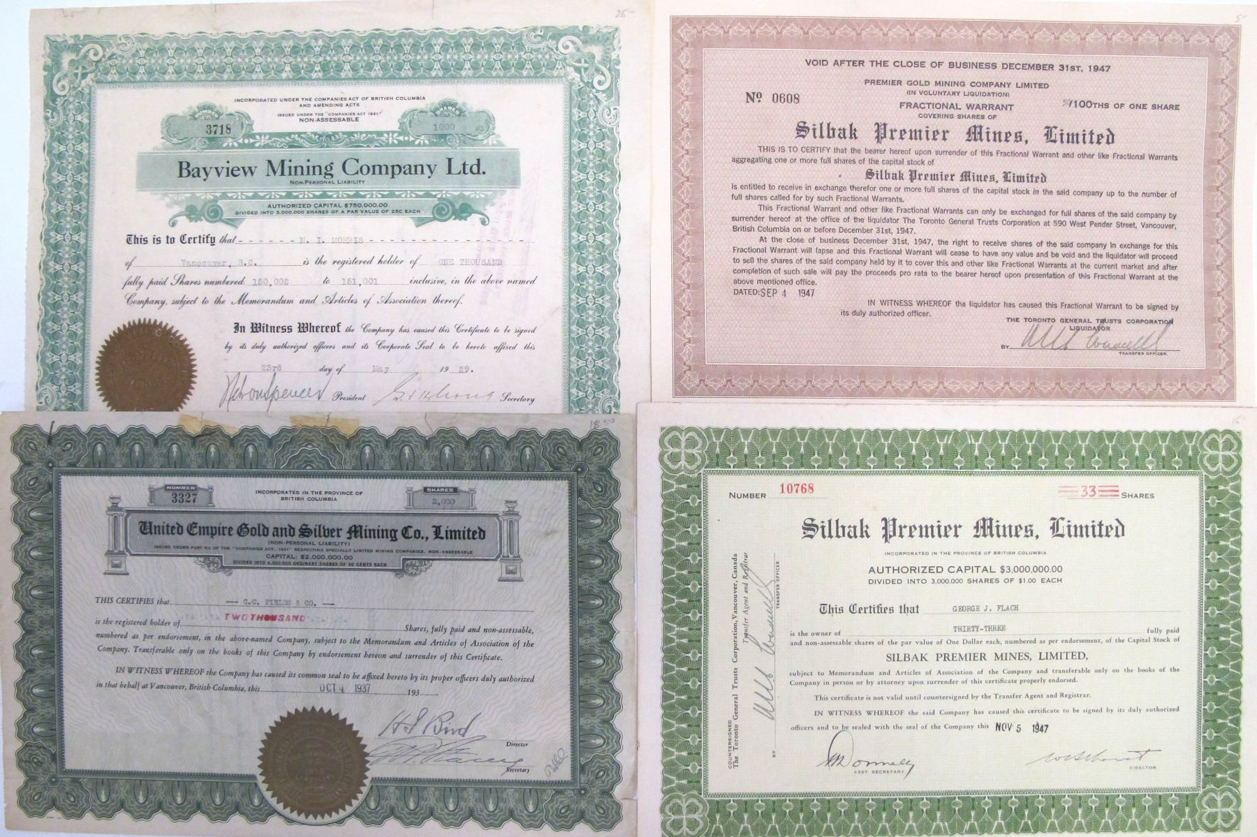 Share Certificates for British Columbia