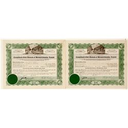 Cons. Gold Alluvials of British Columbia, Ltd. Stock Certificates  (60479)