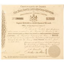Nova Scotia Land & Gold Crushing & Amalgamating Co. Stock, 1863  (63015)