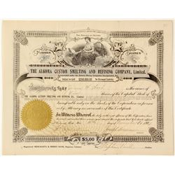 Algoma Custom Smelting & Refining Co., Ltd. Stock Certificate, Thessalon, Ontario  (63010)