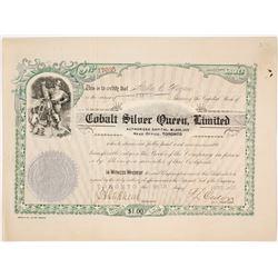 Cobalt Silver Queen, Ltd. Stock Certificate, Ontario, 1907  (60466)
