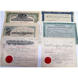 Six Different Ontario Cobalt Mining Stock Certificates  (63077)