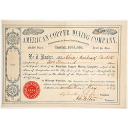 American Copper Mining Co. Stock Certificate, 1864, Quebec  (62758)