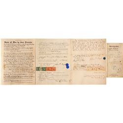 Massachusetts Deed with Rare Adhesive Revenue Stamps, R-149 and R-89  (55429)