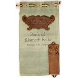 Bank of Klamath Falls Bank Bag, Santa Fe and NCR Metal Plaques  (87115)