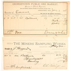Two Georgetown, CO, Assay Receipts  (65045)