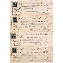 Stateler & Arrington Bankers checks; Virginia City, Nevada Territory (4 count)  (59103)