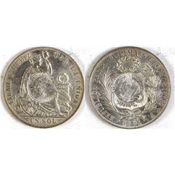 Guatemala Peso, Peruvian Sole Counterstamped with  Guatemala 1/2  Real.  (74041)