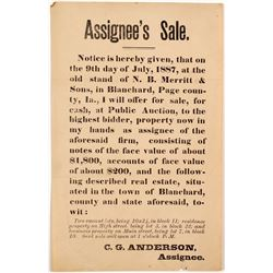 1887 Broadside Re: Sale of Bank Notes  (54799)